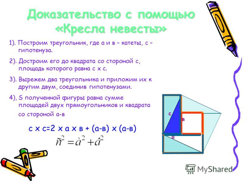 Доказательство с помощью «Кресла невесты» с в а 1). Построим треугольник, где а и в – катеты, с – гипотенуза. 2). Достроим его до квадрата со стороной с, площадь которого равна с х с. 3). Вырежем два треугольника и приложим их к другим двум, соединив