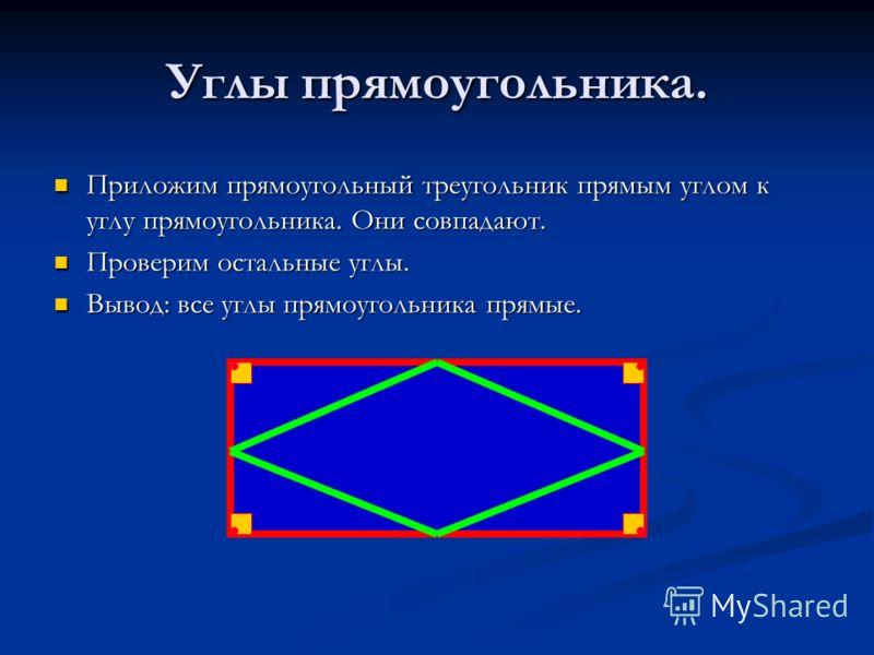 Углы прямоугольника. Приложим прямоугольный треугольник прямым углом к углу прямоугольника. Они совпадают. Приложим прямоугольный треугольник прямым углом к углу прямоугольника. Они совпадают. Проверим остальные углы. Проверим остальные углы. Вывод: