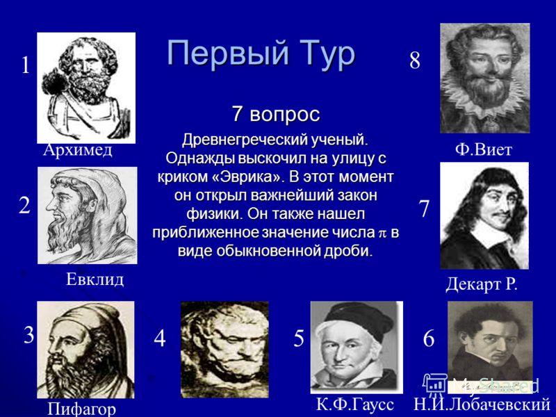 Первый Тур 7 вопрос Древнегреческий ученый. Однажды выскочил на улицу с криком «Эврика». В этот момент он открыл важнейший закон физики. Он также нашел приближенное значение числа в виде обыкновенной дроби. 1 Архимед 2 Евклид 3 Пифагор 8 Фалес 45 К.Ф