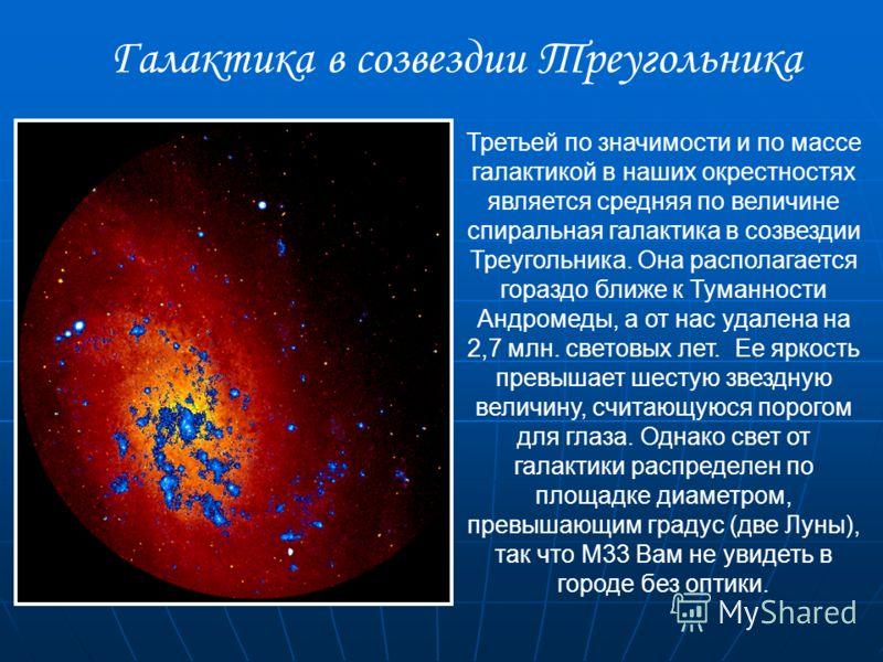 Третьей по значимости и по массе галактикой в наших окрестностях является средняя по величине спиральная галактика в созвездии Треугольника. Она располагается гораздо ближе к Туманности Андромеды, а от нас удалена на 2,7 млн. световых лет. Ее яркость