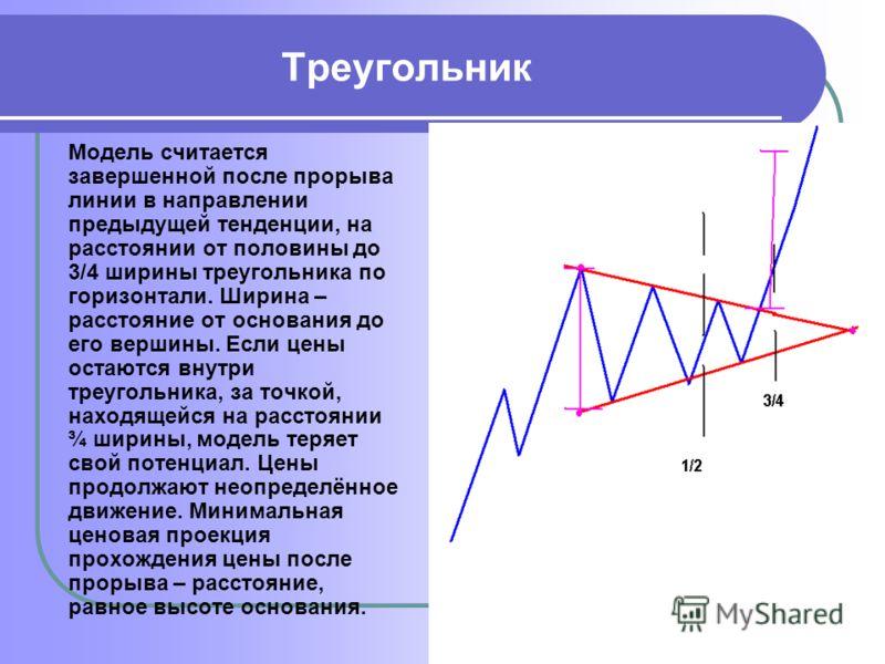 Треугольник Модель считается завершенной после прорыва линии в направлении предыдущей тенденции, на расстоянии от половины до 3/4 ширины треугольника по горизонтали. Ширина – расстояние от основания до его вершины. Если цены остаются внутри треугольн