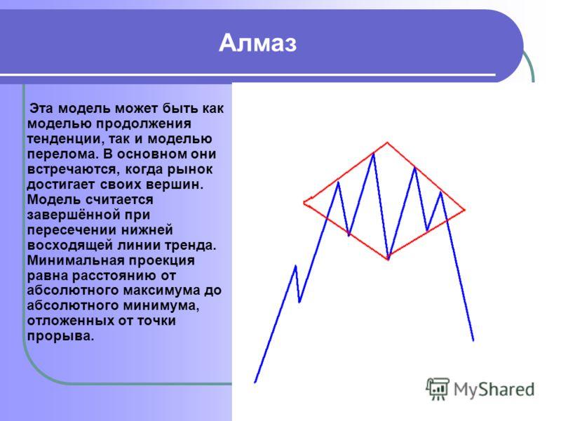 Алмаз Эта модель может быть как моделью продолжения тенденции, так и моделью перелома. В основном они встречаются, когда рынок достигает своих вершин. Модель считается завершённой при пересечении нижней восходящей линии тренда. Минимальная проекция р