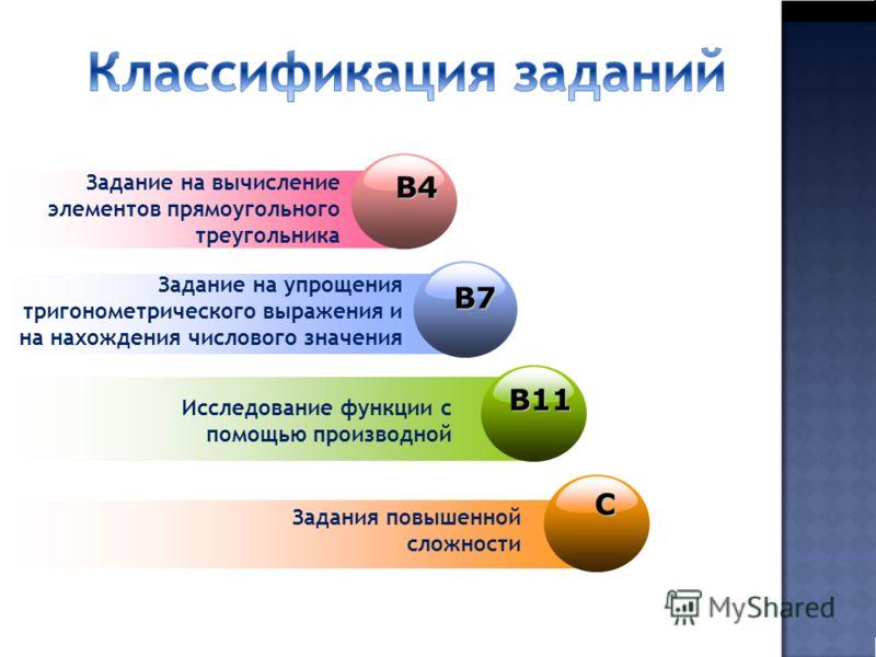 B7B7B7B7 Задание на упрощения тригонометрического выражения и на нахождения числового значения В11 Исследование функции с помощью производнойС Задания повышенной сложности В4 Задание на вычисление элементов прямоугольного треугольника