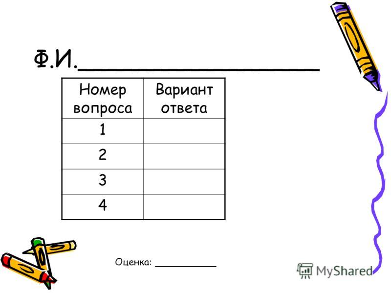 Ф.И.________________ Номер вопроса Вариант ответа 1 2 3 4 Оценка: __________