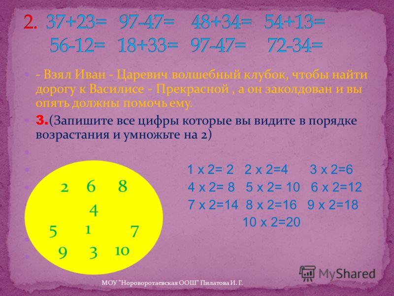 - Взял Иван - Царевич волшебный клубок, чтобы найти дорогу к Василисе - Прекрасной, а он заколдован и вы опять должны помочь ему. 3. (Запишите все цифры которые вы видите в порядке возрастания и умножьте на 2) 6 3 1 х 2= 2 2 х 2=4 3 х 2=6 4 х 2= 8 5
