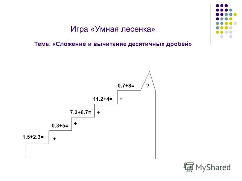 Игра «Умная лесенка» Тема: «Сложение и вычитание десятичных дробей» + 0.7+8= 0.3+5= 7.3+6.7= 11.2+4= 1.5+2.3= + + + ?