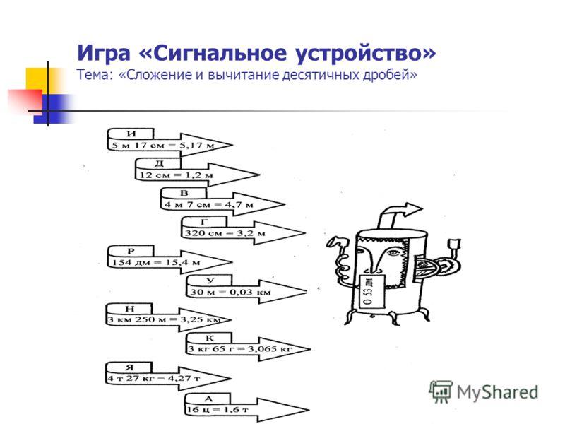 Игра «Сигнальное устройство» Тема: «Сложение и вычитание десятичных дробей»