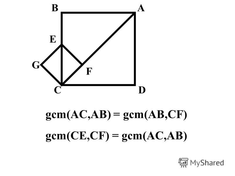 E AB CD G F gcm(AC,AB) = gcm(AB,CF) gcm(CE,CF) = gcm(AC,AB)