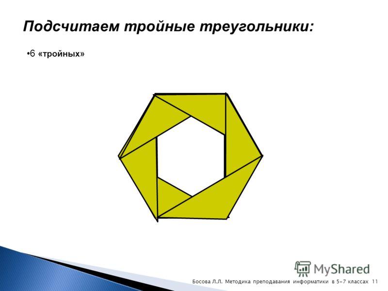 Подсчитаем «двойные» треугольники: 12 «двойных» 10Босова Л.Л. Методика преподавания информатики в 5-7 классах