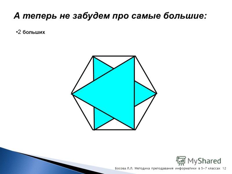 Подсчитаем тройные треугольники: 6 «тройных» 11Босова Л.Л. Методика преподавания информатики в 5-7 классах