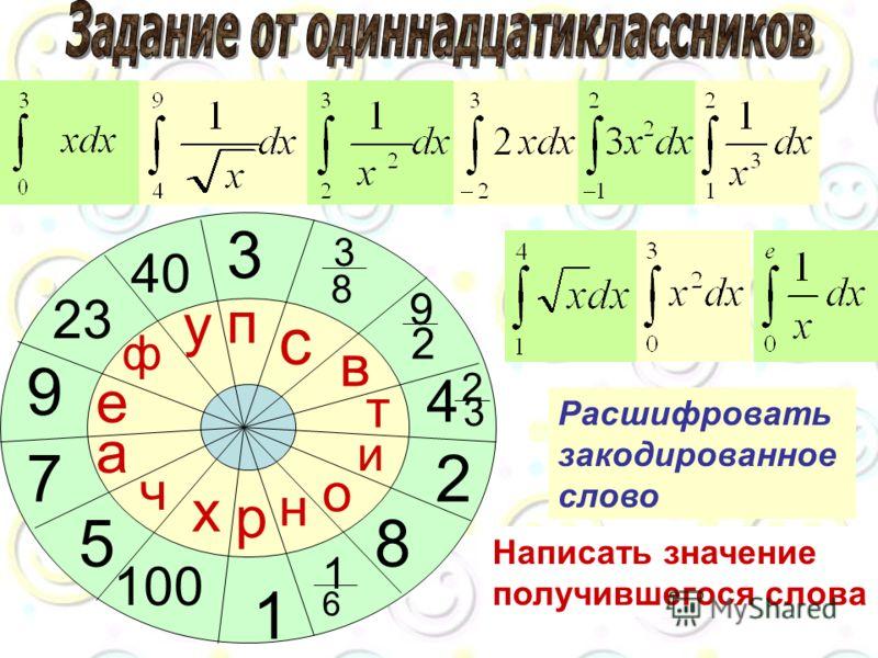 3 23 1 6 8 2 4 2 3 9 2 3 8 100 40 1 9 7 5 р н о и т в с п х у ф е а ч Расшифровать закодированное слово Написать значение получившегося слова