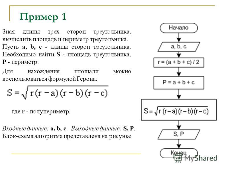 Пример 1 Зная длины трех сторон треугольника, вычислить площадь и периметр треугольника. Пусть a, b, c - длины сторон треугольника. Необходимо найти S - площадь треугольника, P - периметр. Для нахождения площади можно воспользоваться формулой Герона: