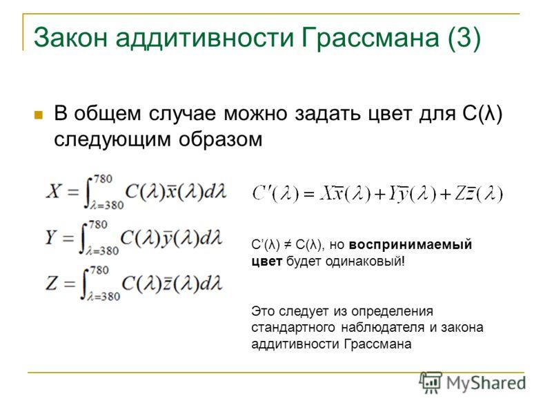 Закон аддитивности Грассмана (3) В общем случае можно задать цвет для C(λ) следующим образом C(λ) С(λ), но воспринимаемый цвет будет одинаковый! Это следует из определения стандартного наблюдателя и закона аддитивности Грассмана
