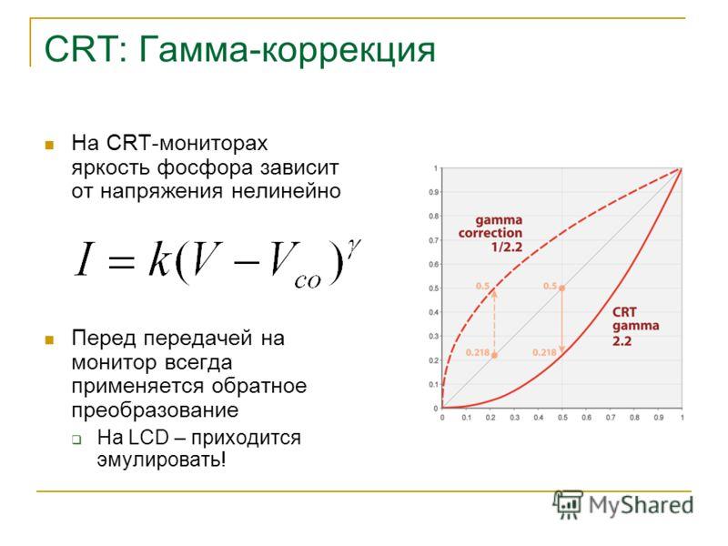 CRT: Гамма-коррекция На CRT-мониторах яркость фосфора зависит от напряжения нелинейно Перед передачей на монитор всегда применяется обратное преобразование На LCD – приходится эмулировать!