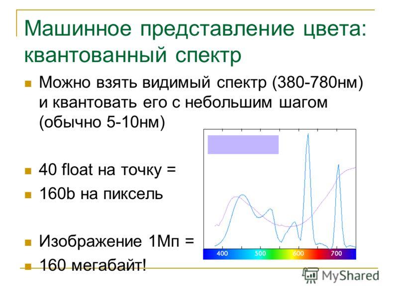 Машинное представление цвета: квантованный спектр Можно взять видимый спектр (380-780нм) и квантовать его с небольшим шагом (обычно 5-10нм) 40 float на точку = 160b на пиксель Изображение 1Мп = 160 мегабайт!