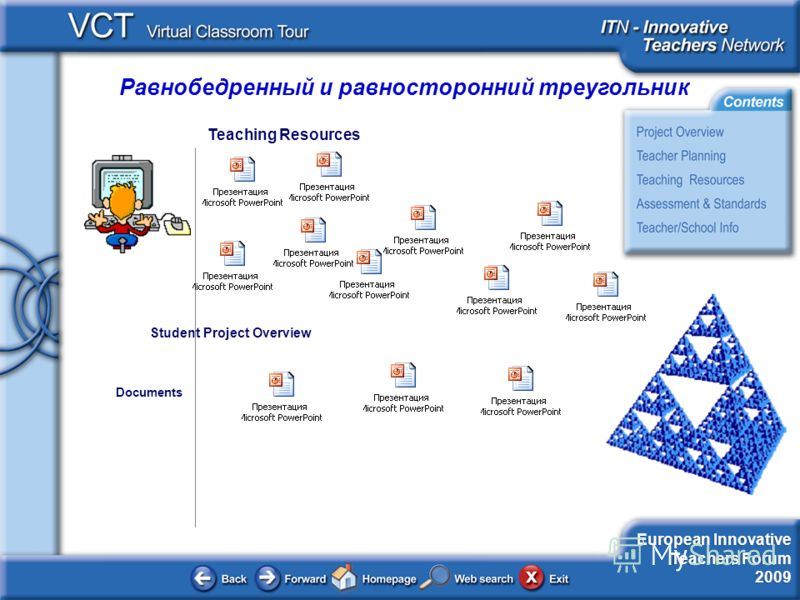 Равнобедренный и равносторонний треугольник European Innovative Teachers Forum 2009 Teaching Resources Documents Student Project Overview
