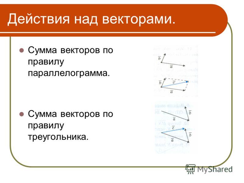 Действия над векторами. Сумма векторов по правилу параллелограмма. Сумма векторов по правилу треугольника.
