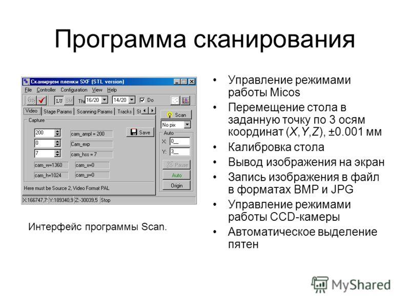 Программа сканирования Управление режимами работы Micos Перемещение стола в заданную точку по 3 осям координат (X,Y,Z), ±0.001 мм Калибровка стола Вывод изображения на экран Запись изображения в файл в форматах BMP и JPG Управление режимами работы CC