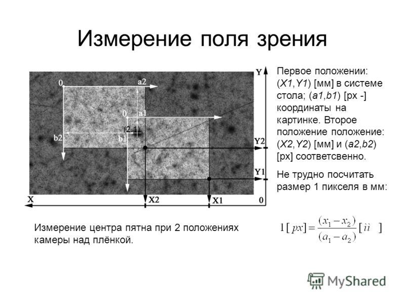 Измерение поля зрения Измерение центра пятна при 2 положениях камеры над плёнкой.,(2.1) соответственно ширина и высота кадра:, (2.2) Первое положении: (X1,Y1) [мм] в системе стола; (a1,b1) [px -] координаты на картинке. Второе положение положение: (X