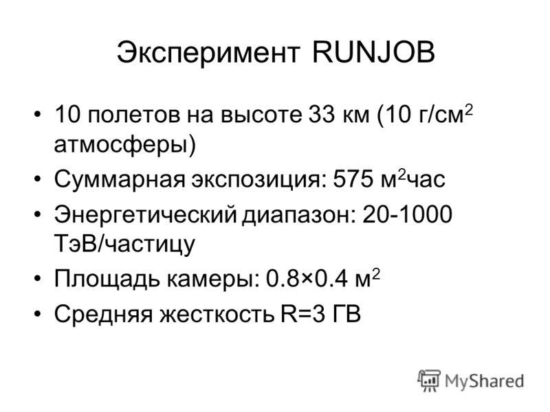 Эксперимент RUNJOB 10 полетов на высоте 33 км (10 г/см 2 атмосферы) Суммарная экспозиция: 575 м 2 час Энергетический диапазон: 20-1000 ТэВ/частицу Площадь камеры: 0.8×0.4 м 2 Средняя жесткость R=3 ГВ