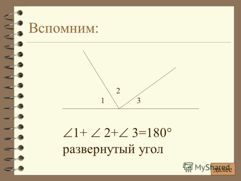 Вспомним: 1+ 2+ 3=180° развернутый угол 1 2 3 далее