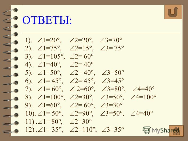 ОТВЕТЫ: 1 ). 1=20°, 2=20°, 3=70° 2). 1=75°, 2=15°, 3= 75° 3). 1=105°, 2= 60° 4). 1=40°, 2= 40° 5). 1=50°, 2= 40°, 3=50° 6). 1= 45°, 2= 45°, 3=45° 7). 1= 60°, 2=60°, 3=80°, 4=40° 8). 1=100°, 2=30°, 3=50°, 4=100° 9). 1=60°, 2= 60°, 3=30° 10). 1= 50°, 2