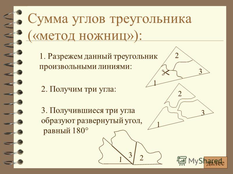 Сумма углов треугольника («метод ножниц»): 1. Разрежем данный треугольник произвольными линиями: 2. Получим три угла: 1 2 3 2 3 1 3. Получившиеся три угла образуют развернутый угол, равный 180° 2 3 1 далее