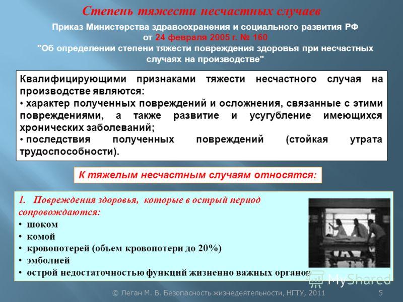 Степень тяжести несчастных случаев Приказ Министерства здравоохранения и социального развития РФ от 24 февраля 2005 г. 160