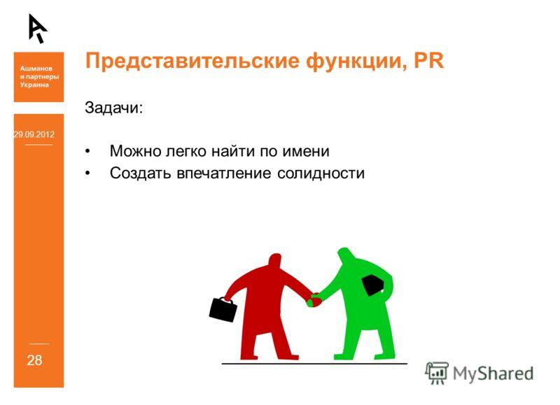 Представительские функции, PR Задачи: Можно легко найти по имени Создать впечатление солидности 05.07.2012 28