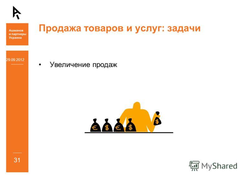 Продажа товаров и услуг: задачи Увеличение продаж 05.07.2012 31