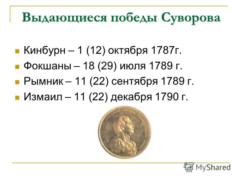 Выдающиеся победы Суворова Кинбурн – 1 (12) октября 1787г. Фокшаны – 18 (29) июля 1789 г. Рымник – 11 (22) сентября 1789 г. Измаил – 11 (22) декабря 1790 г.