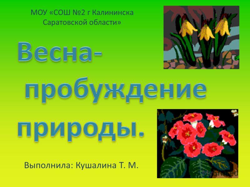 МОУ «СОШ 2 г Калининска Саратовской области» Выполнила: Кушалина Т. М.