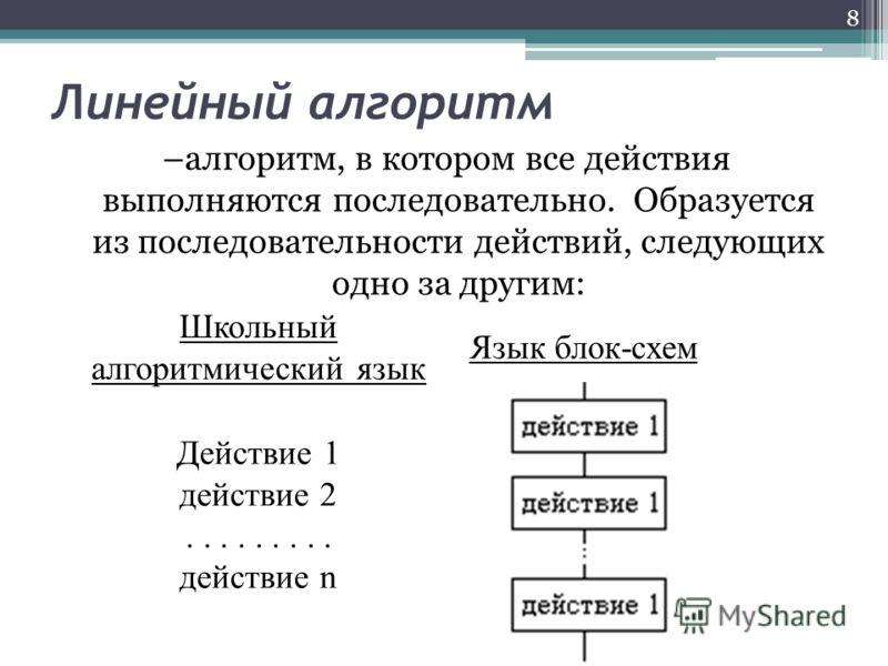 Линейный алгоритм –алгоритм, в котором все действия выполняются последовательно. Образуется из последовательности действий, следующих одно за другим: 8 Школьный алгоритмический язык Язык блок-схем Действие 1 действие 2......... действие n