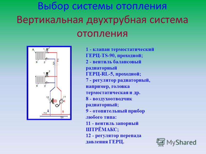 Выбор системы отопления Вертикальная двухтрубная система отопления 1 - клапан термостатический ГЕРЦ-TS-90, проходной; 2 - вентиль балансовый радиаторный ГЕРЦ-RL-5, проходной; 7 - регулятор радиаторный, например, головка термостатическая и др. 8 - воз