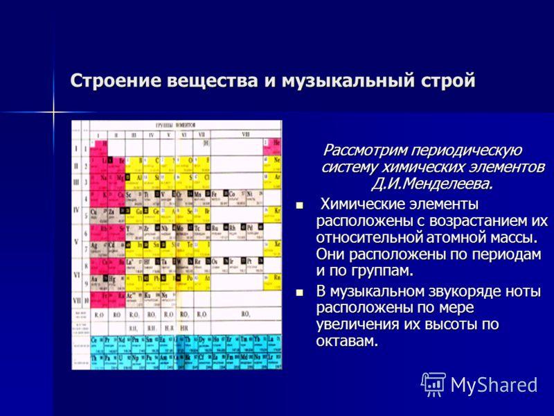 Строение вещества и музыкальный строй Рассмотрим периодическую систему химических элементов Д.И.Менделеева. Химические элементы расположены с возрастанием их относительной атомной массы. Они расположены по периодам и по группам. Химические элементы р