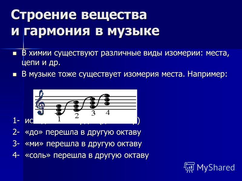 Строение вещества и гармония в музыке В химии существуют различные виды изомерии: места, цепи и др. В химии существуют различные виды изомерии: места, цепи и др. В музыке тоже существует изомерия места. Например: В музыке тоже существует изомерия мес