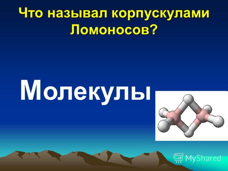 Что называл корпускулами Ломоносов? М олекулы