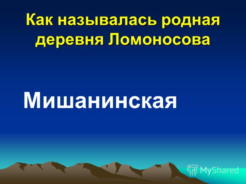 Как называлась родная деревня Ломоносова Мишанинская