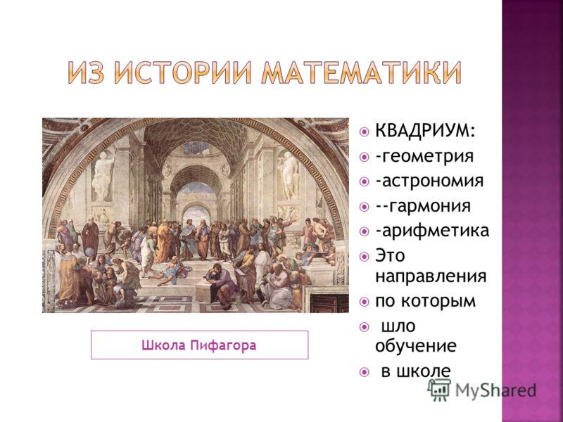 Школа Пифагора КВАДРИУМ: -геометрия -астрономия --гармония -арифметика Это направления по которым шло обучение в школе