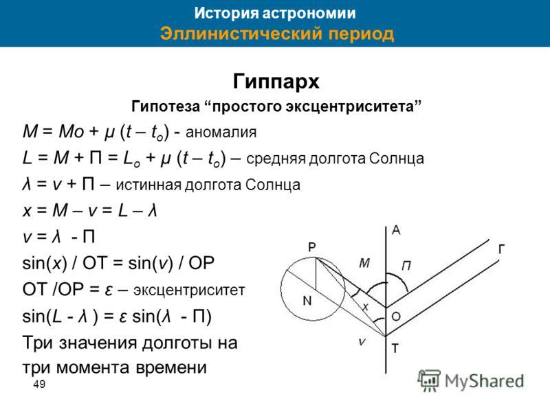 4935 Гиппарх Гипотеза простого эксцентриситета M = Mo + μ (t – t o ) - аномалия L = M + П = L o + μ (t – t o ) – средняя долгота Солнца λ = ν + П – истинная долгота Солнца x = M – v = L – λ v = λ - П sin(x) / OT = sin(v) / OP OT /OP = ε – эксцентриси