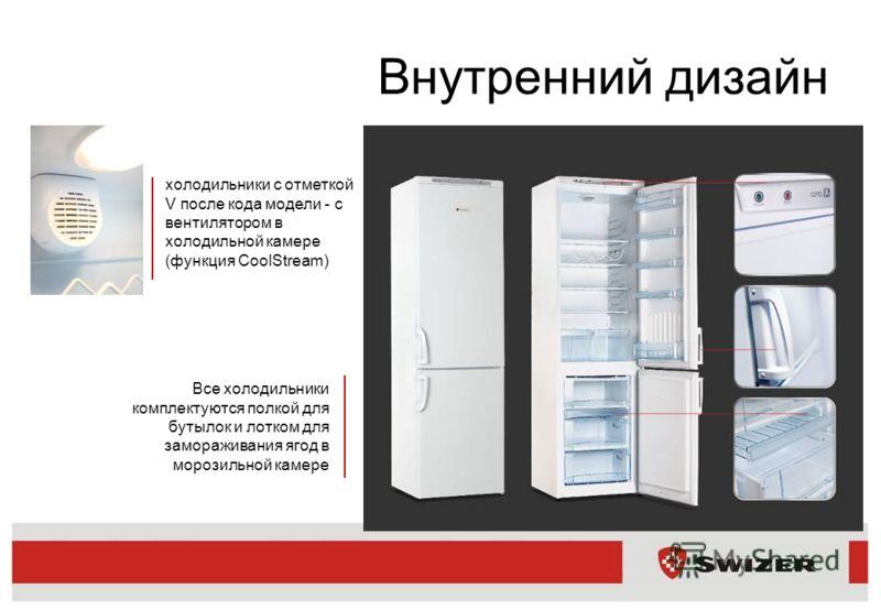 Внутренний дизайн холодильники с отметкой V после кода модели - с вентилятором в холодильной камере (функция CoolStream) Все холодильники комплектуются полкой для бутылок и лотком для замораживания ягод в морозильной камере