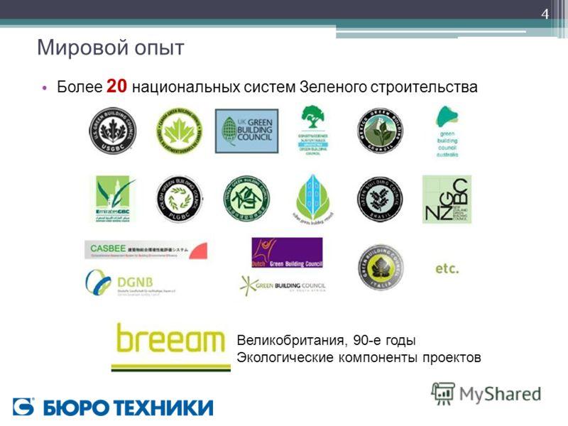 4 Мировой опыт Более 20 национальных систем Зеленого строительства Великобритания, 90-е годы Экологические компоненты проектов