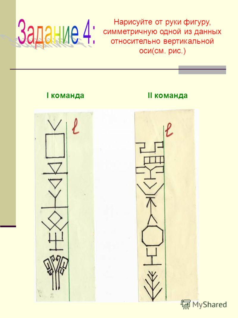 Нарисуйте от руки фигуру, симметричную одной из данных относительно вертикальной оси(см. рис.) I командаII команда