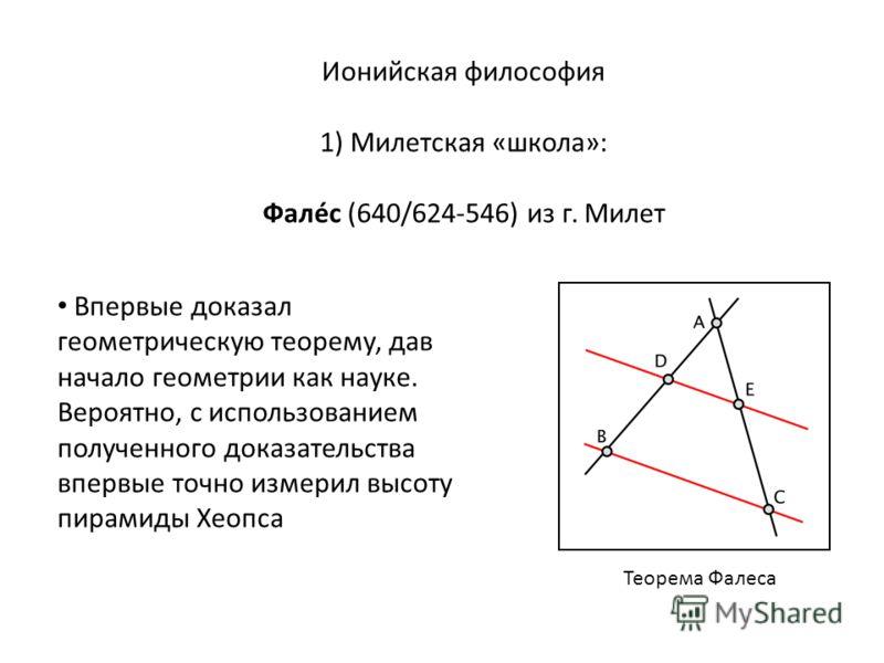 Ионийская философия 1) Милетская «школа»: Фалéс (640/624-546) из г. Милет Впервые доказал геометрическую теорему, дав начало геометрии как науке. Вероятно, с использованием полученного доказательства впервые точно измерил высоту пирамиды Хеопса Теоре