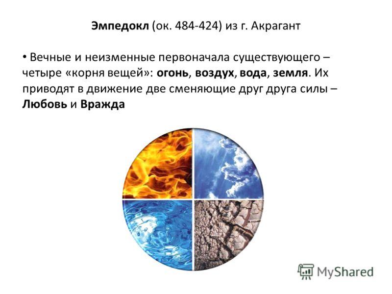 Эмпедокл (ок. 484-424) из г. Акрагант Вечные и неизменные первоначала существующего – четыре «корня вещей»: огонь, воздух, вода, земля. Их приводят в движение две сменяющие друг друга силы – Любовь и Вражда