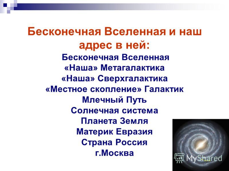 Бесконечная Вселенная и наш адрес в ней: Бесконечная Вселенная «Наша» Метагалактика «Наша» Сверхгалактика «Местное скопление» Галактик Млечный Путь Солнечная система Планета Земля Материк Евразия Страна Россия г.Москва