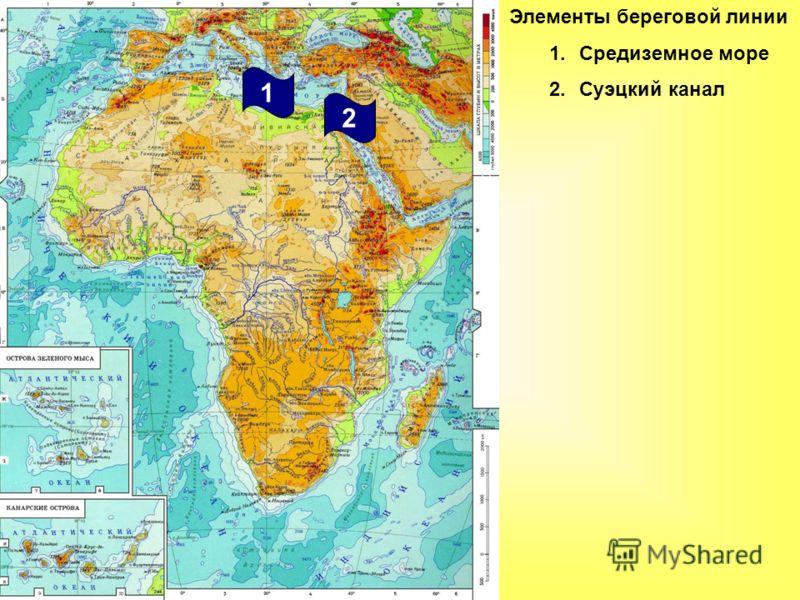 Элементы береговой линии 1.Средиземное море 2.Суэцкий канал 2 1