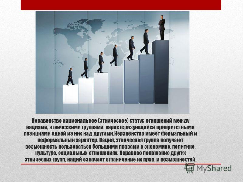 Неравенство национальное (этническое) статус отношений между нациями, этническими группами, характеризующийся приоритетными позициями одной из них над другими.Неравенство имеет формальный и неформальный характер. Нация, этническая группа получают воз