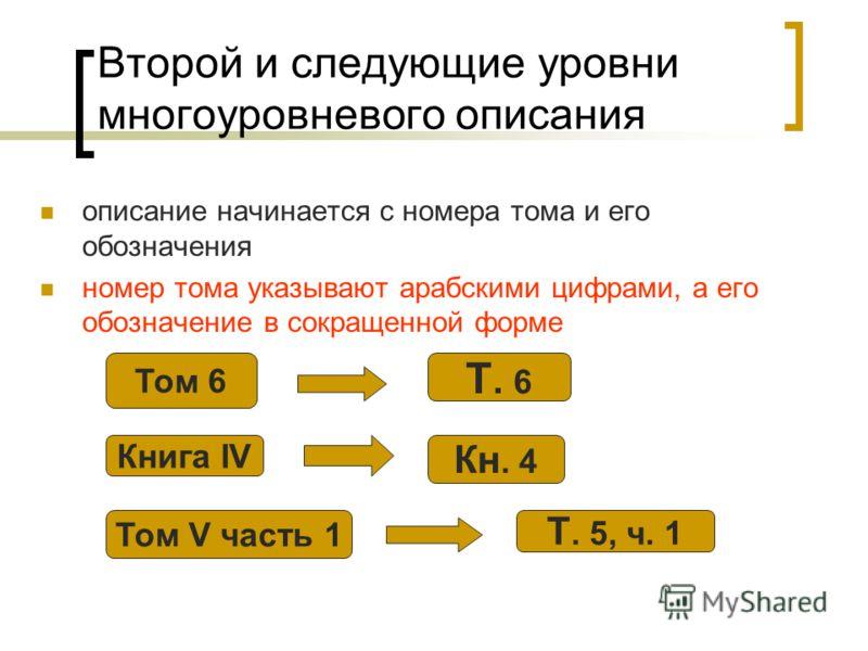 Второй и следующие уровни многоуровневого описания описание начинается с номера тома и его обозначения номер тома указывают арабскими цифрами, а его обозначение в сокращенной форме Том 6 Т. 6 Книга IV Кн. 4 Том V часть 1 Т. 5, ч. 1