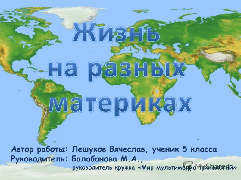 Автор работы: Лешуков Вячеслав, ученик 5 класса Руководитель: Балабанова М.А., руководитель кружка «Мир мультимедиа технологий»